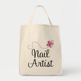 Artista rosado lindo del clavo de la mariposa bolsa tela para la compra