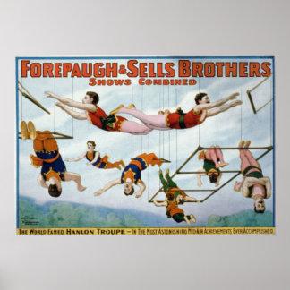 Artistas de trapecio/hermanos de Forepaugh y de Se Póster