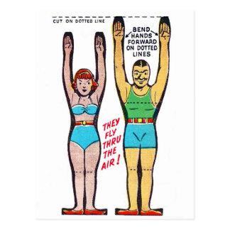 Artistas de trapecio retros de la caja de cereal postales