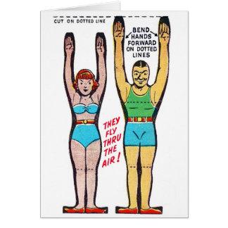 Artistas de trapecio retros de la caja de cereal tarjeta de felicitación
