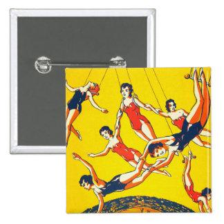 Artistas de trapecio retros del circo del kitsch d pin cuadrado