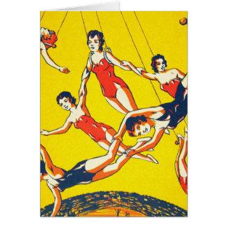 Artistas de trapecio retros del circo del kitsch d tarjeta de felicitación