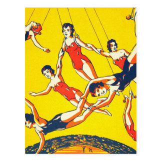 Artistas de trapecio retros del circo del kitsch tarjeta postal