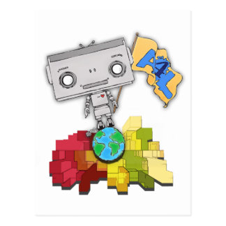 Artistas robot de 4 vidas postal