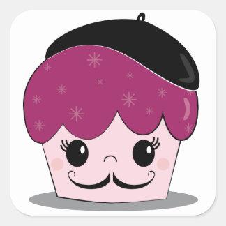 Artiste Cupcake Mustache Square Stickers