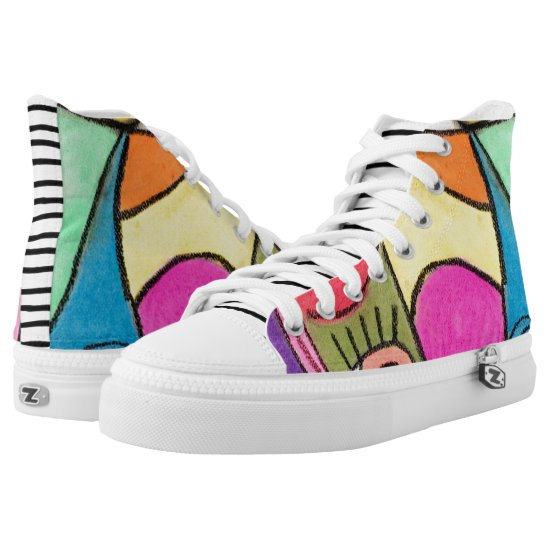Artistic Abstract Colorful Colorblock Unique Fun High-Top Sneakers