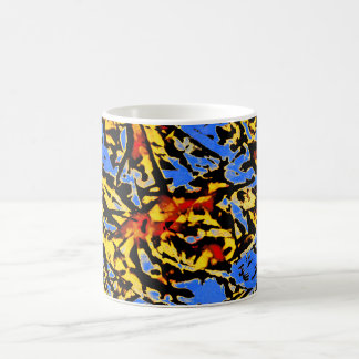 Artistic Abstract Design with Network, Blue. Yello Coffee Mug