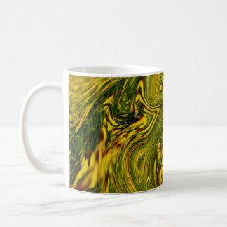 Artistic Abstract Swirls Yellow Green Floral Coffee Mug