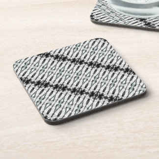 Artistic Abstract White and Black Coaster