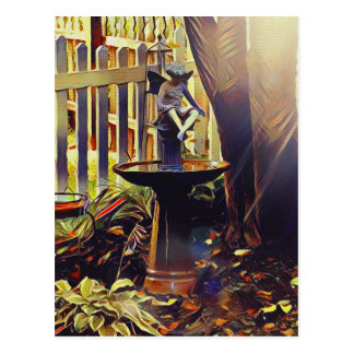 Artistic Angel of Light Birdbath Postcard