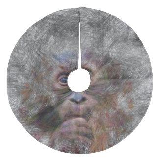 artistic animal orang baby fleece tree skirt