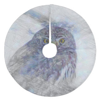 Artistic Animal  Owl Fleece Tree Skirt