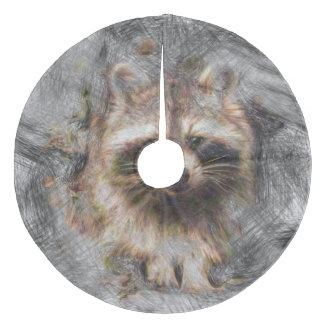 Artistic Animal Raccoon Fleece Tree Skirt
