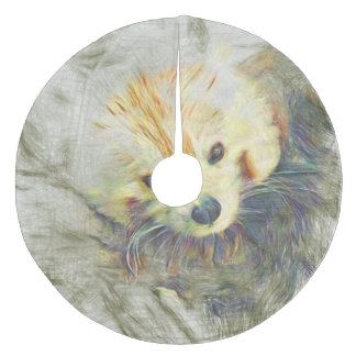 Artistic Animal Red Panda Fleece Tree Skirt