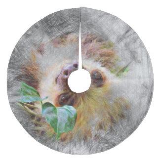 artistic animal sloth fleece tree skirt