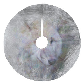 artistic animal wolf fleece tree skirt