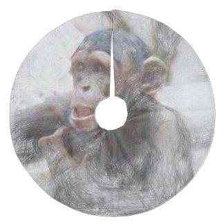 Artistic Animal young Chimp Fleece Tree Skirt