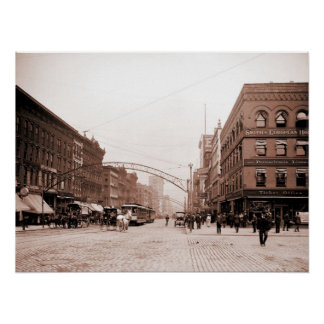Artistic antique photo High Street Columbus OH Poster