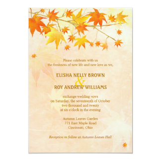 Artistic Autumn Foliage Modern Wedding Card
