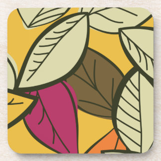 Artistic Autumn Leaves Beverage Coaster