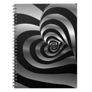 Artistic background with hearts spiral notebook