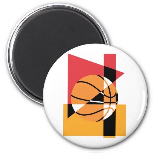 Artistic Basketball 2 Inch Round Magnet