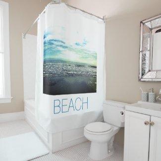 Artistic Beach Photo Template Custom Blue White Shower Curtain