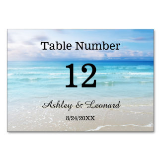 Artistic Beach Wedding Table Number Card