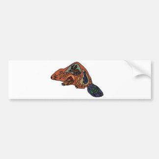 Artistic Beaver Tribal Art Style Original Bumper Sticker