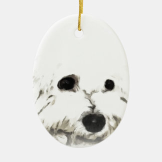 Artistic Bichon head aquarelle Ceramic Ornament