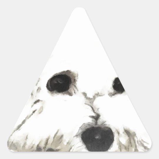 Artistic Bichon head aquarelle Triangle Sticker