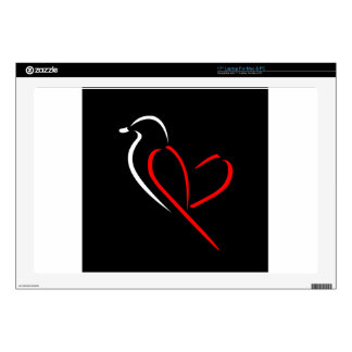 "Artistic bird with wings shaped like a heart 17"" laptop decals"