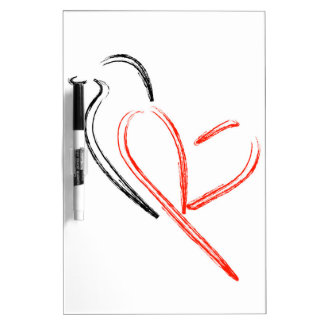 Artistic bird with wings shaped like a heart dry erase board