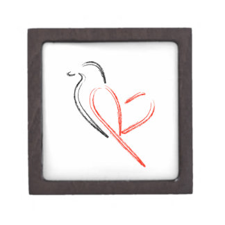Artistic bird with wings shaped like a heart gift box