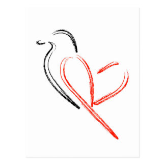 Artistic bird with wings shaped like a heart postcard
