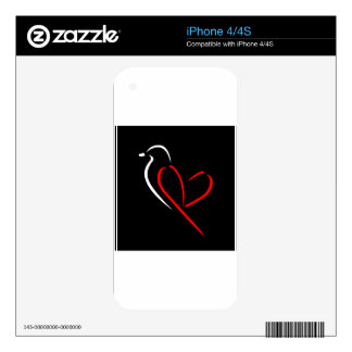 Artistic bird with wings shaped like a heart skins for iPhone 4S