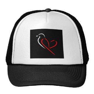 Artistic bird with wings shaped like a heart trucker hat