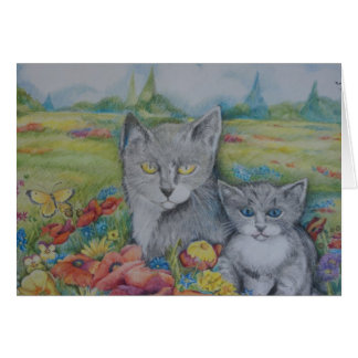 Artistic birthday card with cats and text
