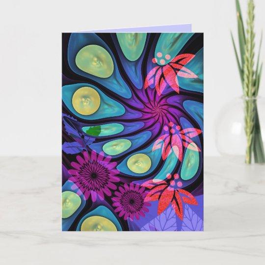 Artistic Birthday Card With Fantasy Flowers Text Zazzle