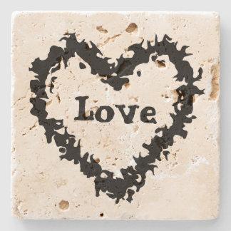 Artistic black abstract love heart design stone beverage coaster