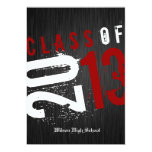 Artistic Black, White and Red Class of 2013 Card