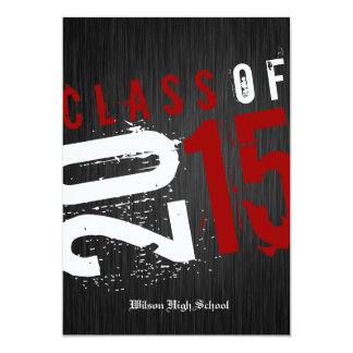 Artistic Black, White and Red Class of 2015 5x7 Paper Invitation Card