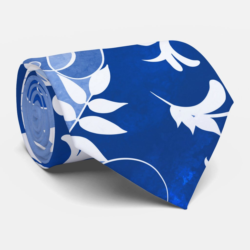 Artistic Blue and White Leaf Design Tie