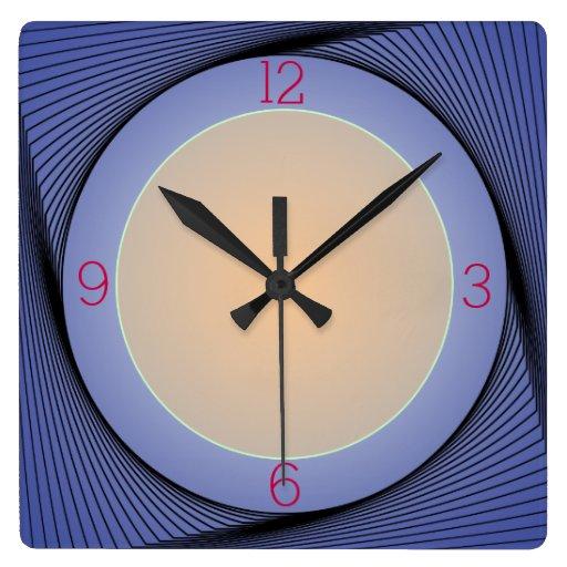 Artistic Blue Border With Yellow Centre Wall Clock Zazzle