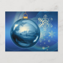 Artistic blue Christmas bauble Holiday Postcard