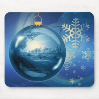 Artistic blue Christmas bauble Mouse Pad