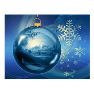 Artistic blue Christmas bauble Post Card