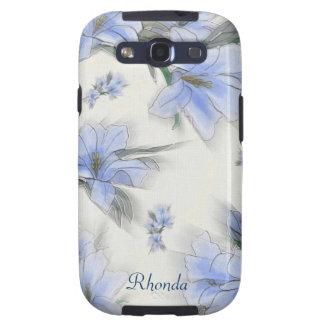 Artistic Blue Flowers Samsung Galaxy Case Samsung Galaxy S3 Cover