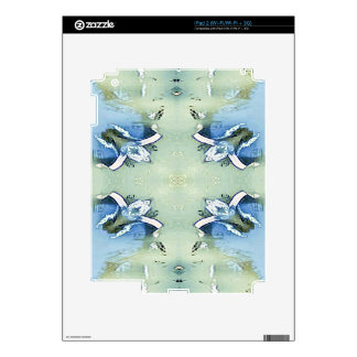 Artistic Blue Green Personalizable Chic  Pattern Decal For The iPad 2
