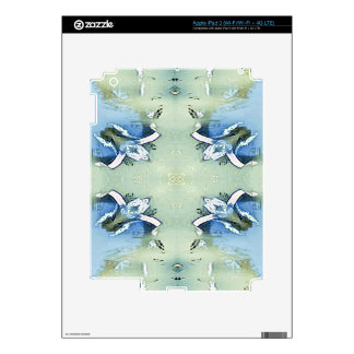 Artistic Blue Green Personalizable Chic  Pattern iPad 3 Decals